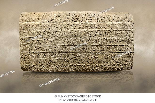 Photo of Hittite sculpted Orthostats panel from the Long Wall. Limestone, Kargarmis, Gaziantep, 900 - 700 BC, Hieroglyph