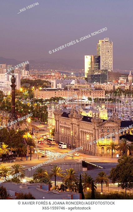 View of Barcelona city from Miramar in Montjuich mountain, Barcelona, Spain