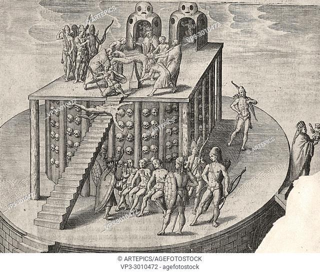 Theodor de Bry - Human sacrifices by the Aztecs