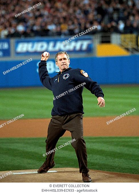 President George W. Bush throws the ceremonial first pitch at Yankee Stadium. Oct. 30, 2001. Game three between the Arizona Diamondbacks and the New York...