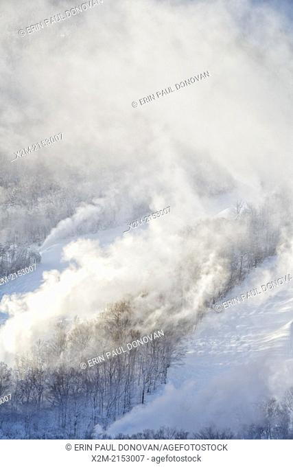 Franconia Notch State Park - Snow making at Cannon Mountains in the White Mountains, New Hampshire USA