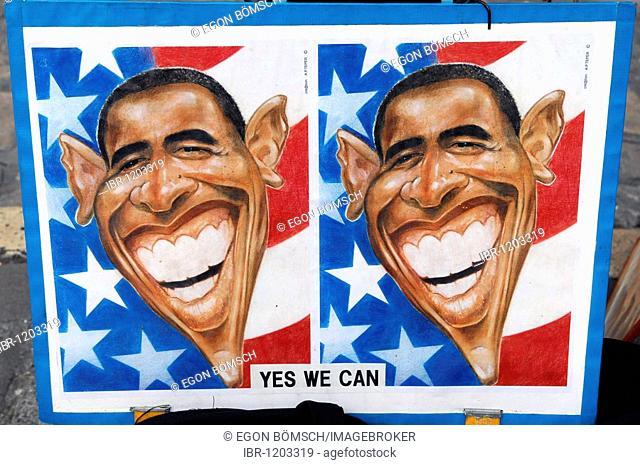 Caricature of Barack Obama, Place du Tertre, Montmartre, Sacre Coeur, Paris, France, Europe