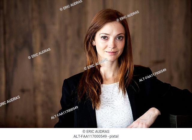 Businesswoman standing in hotel