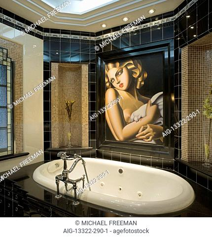 Bathroom in Art Deco style. Recently restored 1930s British colonial residence in the French Concession district of Shanghai