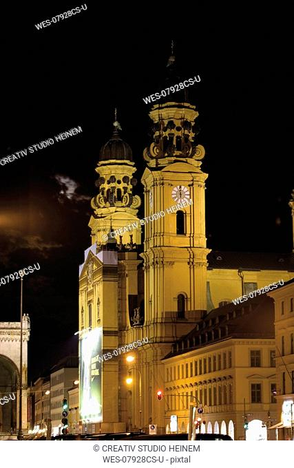 Germany, Bavaria, Munich, Theatinerchurch, Clock tower