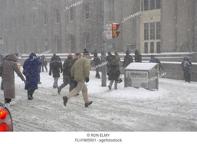 People Crossing the Street in a Snow Storm, Front Street, Toronto, Ontario