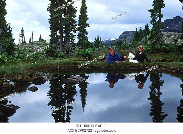 Strathcona Provincial Park, hiker in Forbidden Plateau, Vancouver Island, British Columbia, Canada