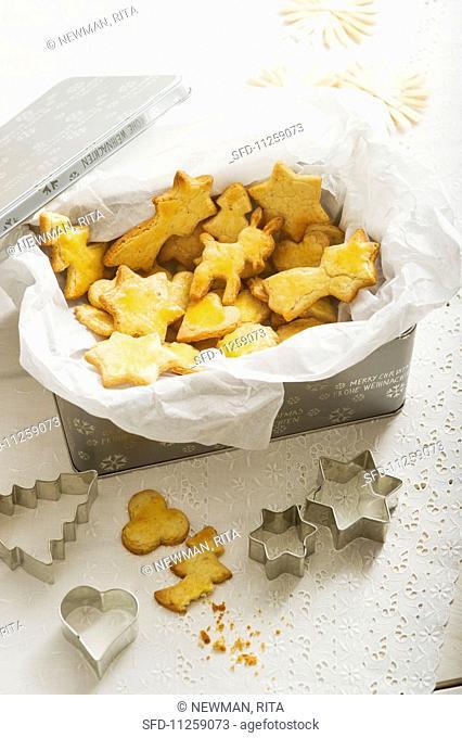 Mailänderli (Swiss Christmas biscuits) in a biscuit tin
