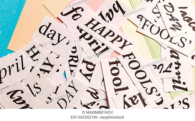 words Happy April Fools Day on colorful background