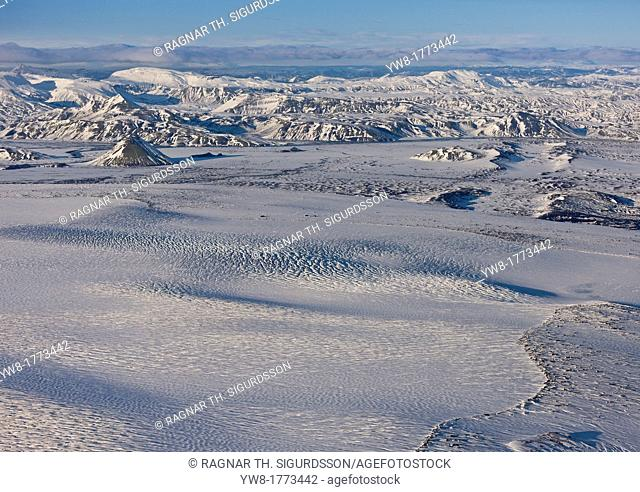 Aerial of Myrdalsjokull Ice cap, Iceland Area of Katla, a subglacial volcano  Icelandic Volcanologists are expecting an eruption and continue to monitor...