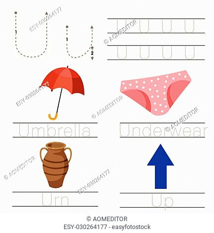 Illustrator of Worksheet for children u font