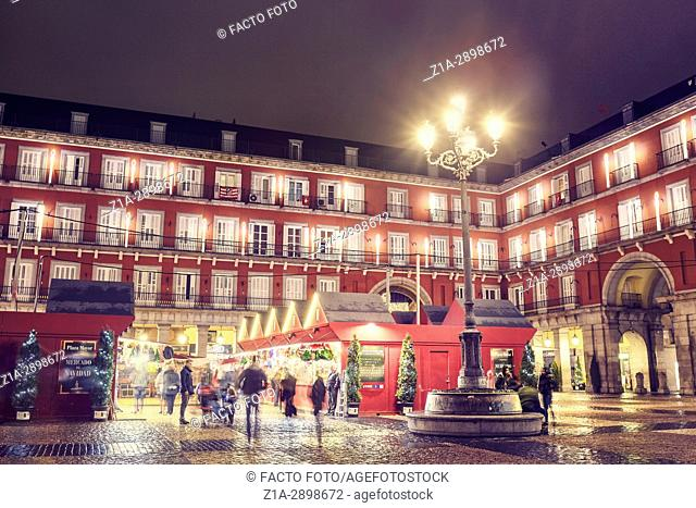Christmas Market in Plaza Mayor at Christmastime. Madrid. Spain