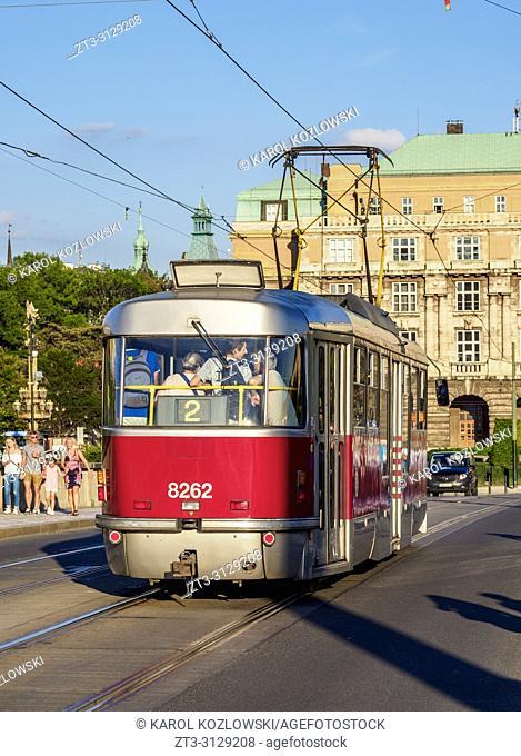 Tram in Prague, Bohemia Region, Czech Republic