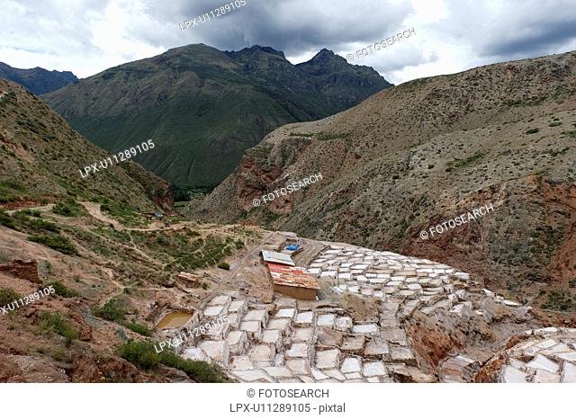 High angle view of salt pond, Maras, Sacred Valley, Cusco Region, Peru