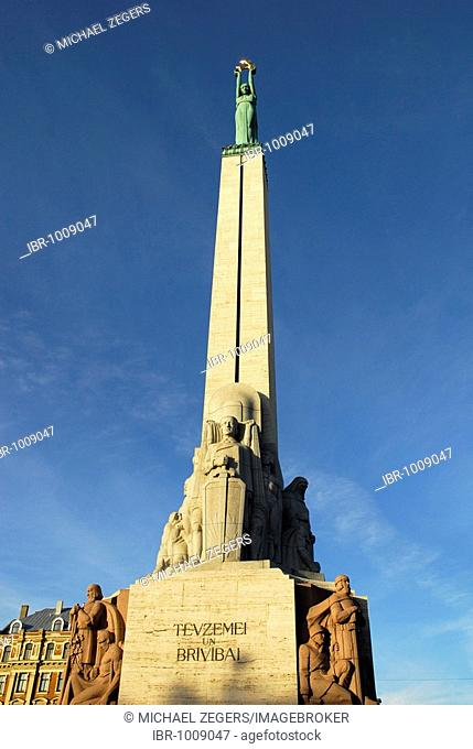 The girl Milda holding up 3 stars towards the sky, Monument, Statue of Liberty, Brivibas piemineklis in the Brivibas bulvaris Boulevard, Riga, Latvia