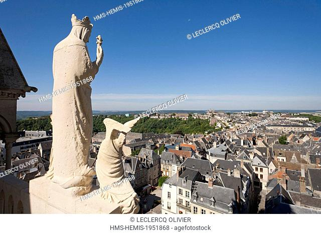 France, Aisne, Laon, view on the town from the top of the cathedral