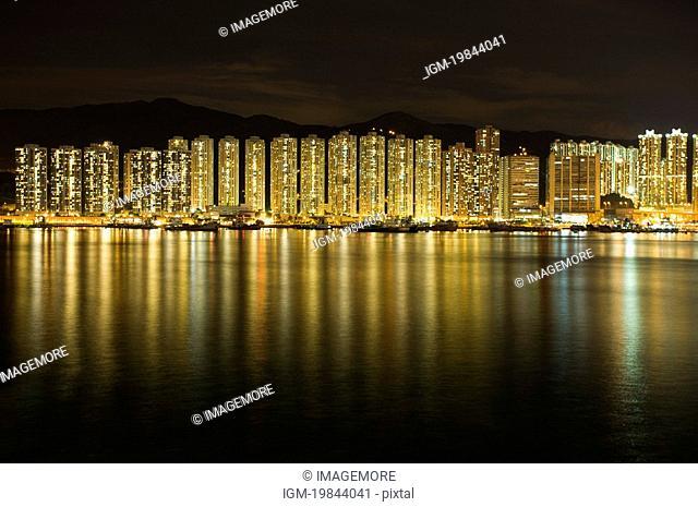 Tsing Yi skyline at night, New Territories, Hong Kong