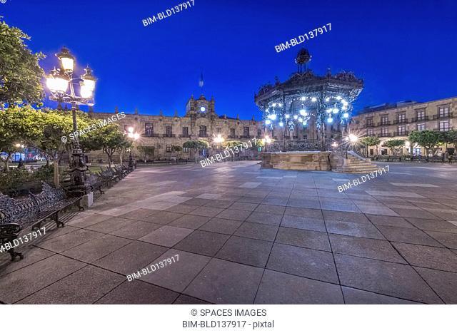 Illuminated monument in Plaza de Armas, Guadalajara, Jalisco, Mexico