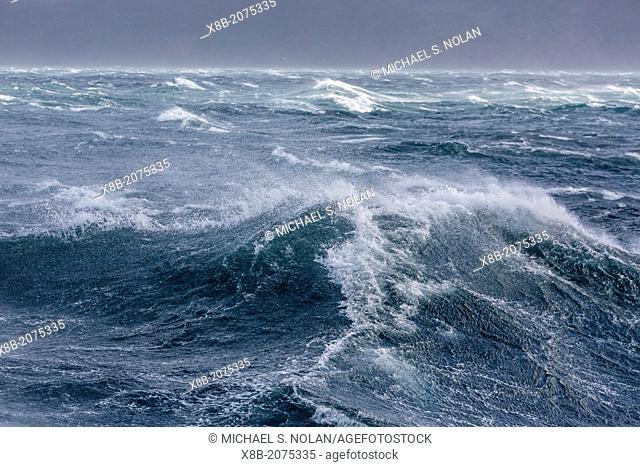 Gale force seas in Dusky Sound, Fiordland National Park, South Island, New Zealand
