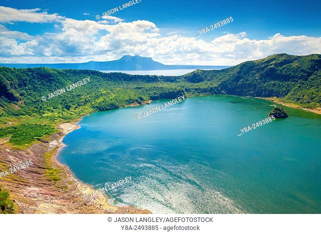 Crater lake of Taal Volcano on Taal Volcano Island, Talisay, Batangas Province, Philippines