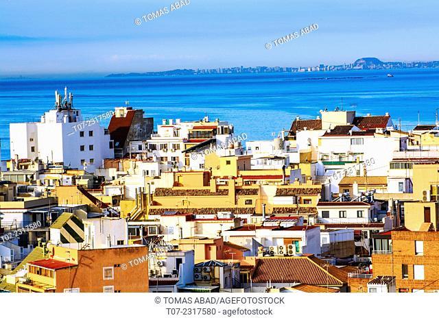 Cityscape of Benidorm overlooking Mediterranean Sea, hotels and apartment - residential buildings, Province of Alicante, Costa Blanca, Western Mediterranean Sea