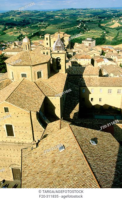 Overview of Macerata and its cathedral. Marche. Italy