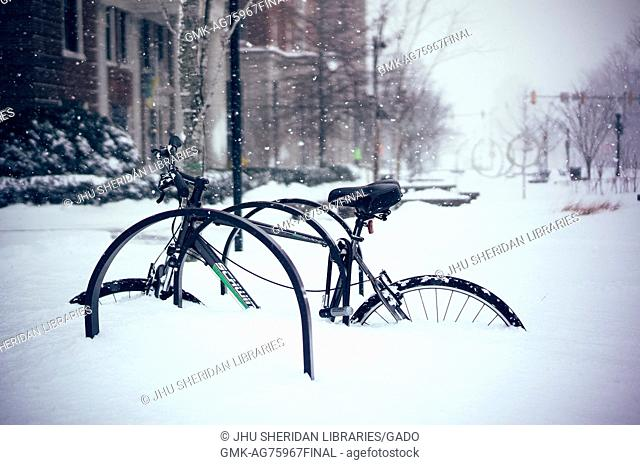 A bicycle locked on a rack on Charles Street stands covered in three feet of snow, in front of Johns Hopkins University, Baltimore, Maryland, 2016