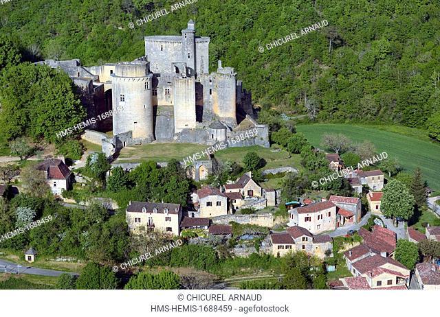 France, Lot-et-Garonne, the castle of Bonaguil (aerial view)