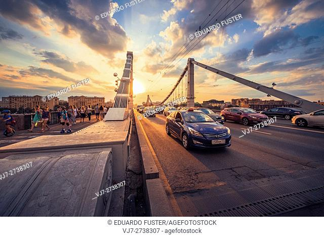 Sunset in the Krymsky Bridge (Moscow)