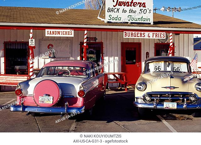 Vintage Old Cars At Diner On Route 66 California USA