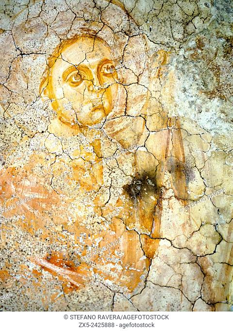 Ascension (detail) by unknown author 13th century . tempera on plaster. Caetani castle in the medieval town of Sermoneta - Latina, Italy