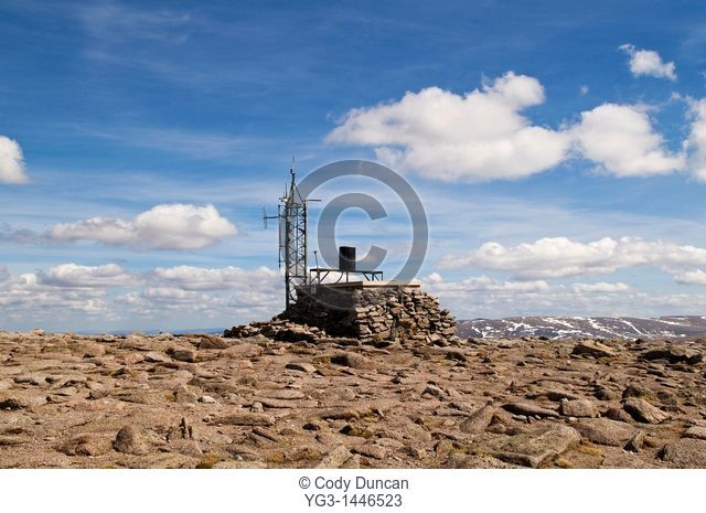 Weather station at the summit of Cairn Gorm mountain, Cairngoms, Scotland