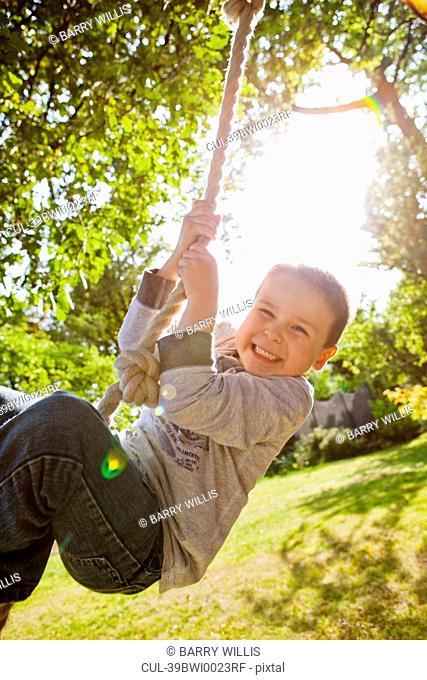 Boy playing on rope swing in backyard