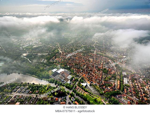 View of the old town of Warendorf with clouds, cloud layer, Warendorf, district town of Warendorf, North Rhine-Westphalia, Germany