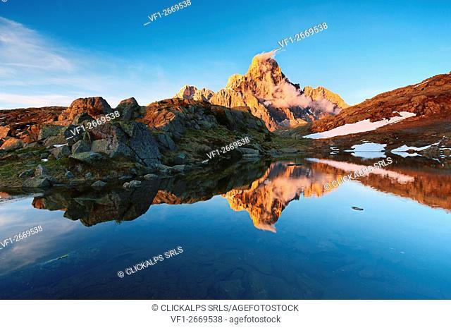 Italy, Trentino Alto Adige, Trento district - Cimon della Pala at sunset