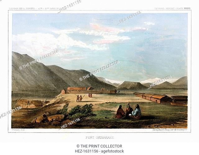 Fort Okinakane, USA, 1856. View of Fort Okanogan (Okinakane) located on the Okanogan River one half mile upstream from the confluence with the Columbia River in...