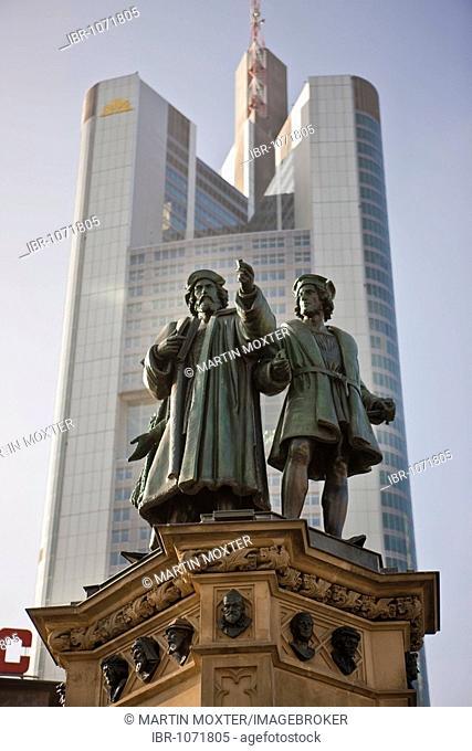 Gutenberg Memorial on Rossmarkt Square, Commerzbank bank in the back, Frankfurt, Hesse, Germany, Europe