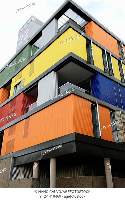 Splash of colour in this Social Housing designed by Amann-Canovas-Maruri Architects  Located in the PAU of Carabanchel, Madrid, Spain