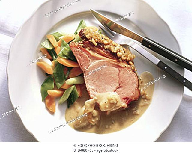 Roast Pork with sweet-spicy Crust and Vegetables