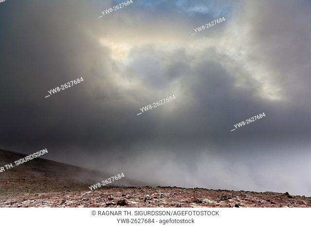 Landscape after eruption from Eyjafjallajokull Volcano, Fimmvorduhals, Iceland