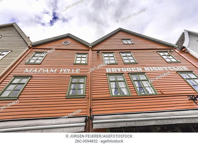 Old Hanseatic buildings of Bryggen, Norway, front view upside