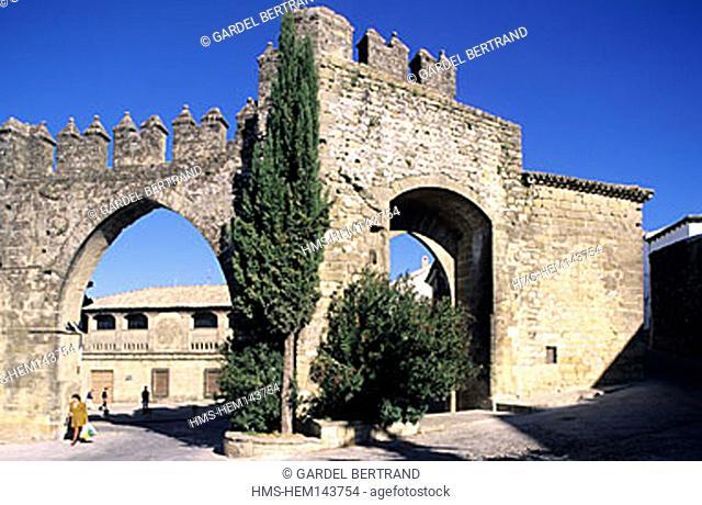 Spain, Andalusia, Baeza, the gate of Jaen and Arco de Villalar