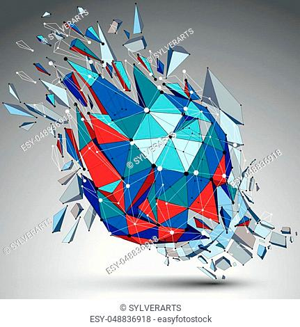 Abstract 3d faceted blue figure with connected black lines and dots. Vector low poly shattered design element with fragments and particles