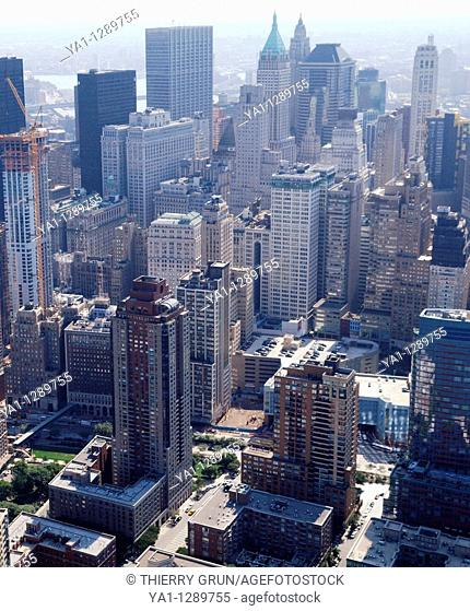Aerial view of Tribeca, Lower Manhattan, New York city, USA