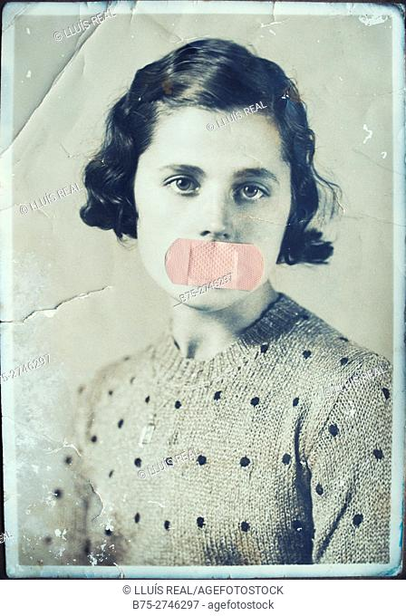 Antique portrait of young woman looking at the camera, with bandage covering her mouth