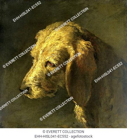 Head of a Dog, by Nicolas Toussaint Charlet, c. 1820-45, French painting, oil on canvas. (BSLOC-2016-1-297)