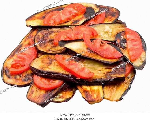 fried eggplants with fresh tomato