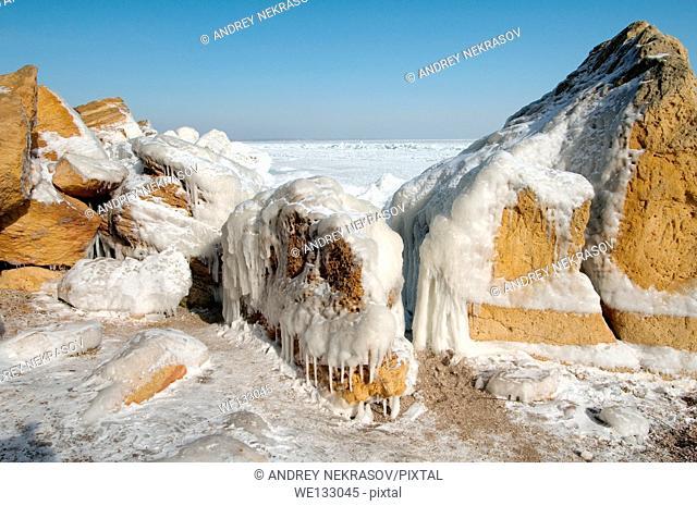 Frozen Black Sea, a rare phenomenon, occured in 1977 for the last time, Odessa, Ukraine, Eastern Europe