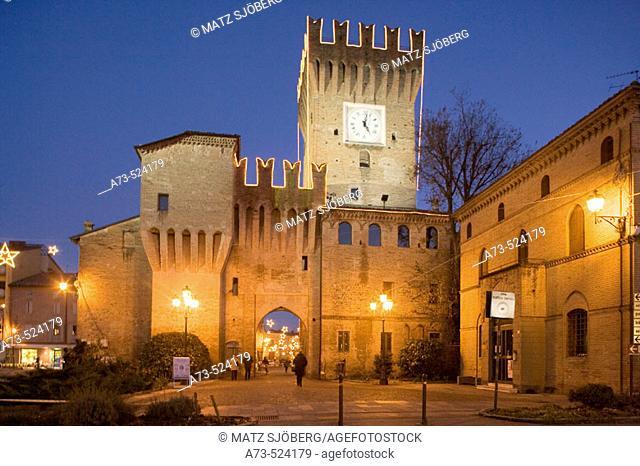 Christmas lights at Spilamberto castle. Modena province,  Emilia-Romagna, Italy