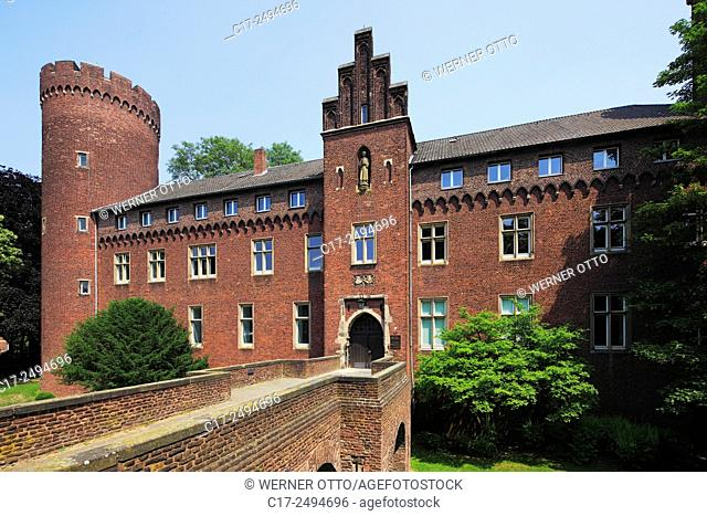Germany, Kempen, Niers, Lower Rhine, Rhineland, North Rhine-Westphalia, NRW, castle Kempen from the Electorate of Cologne, brick building, neo-Gothic